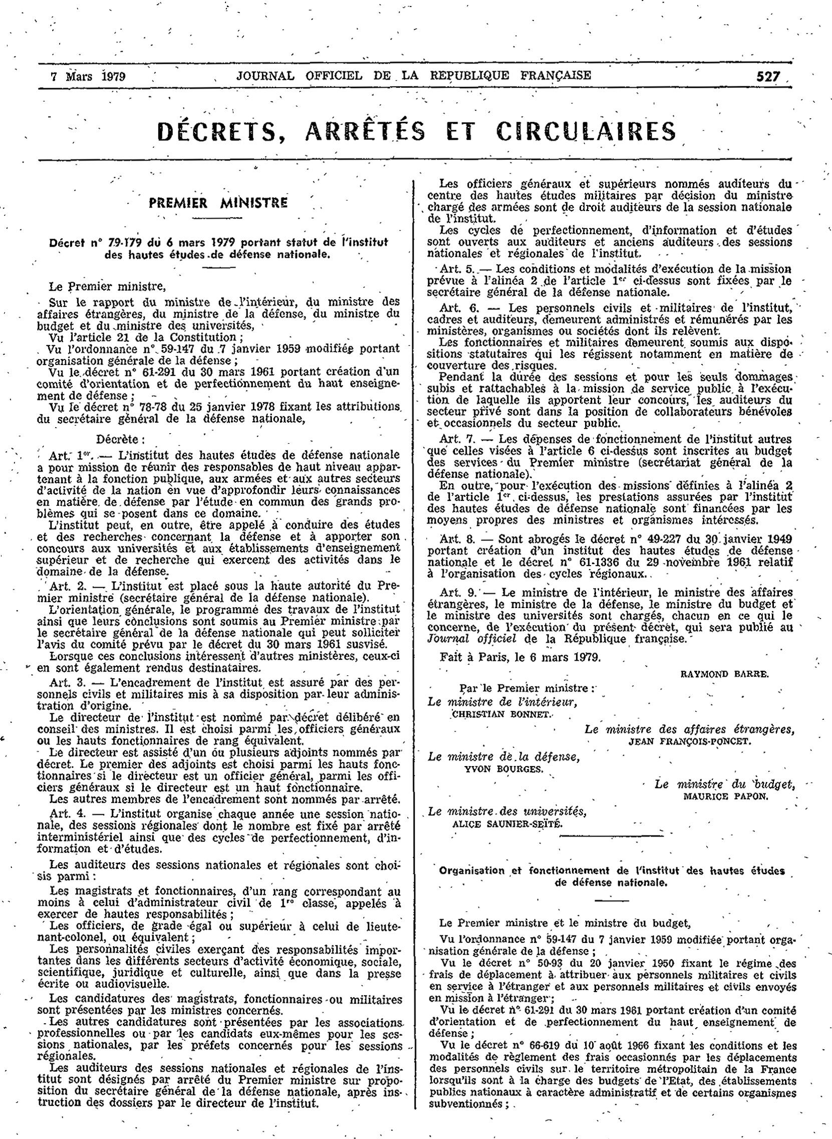 Décret n° 79-179 du 6 mars 1979 portant le statut de l'Institut des hautes études de défense nationale   