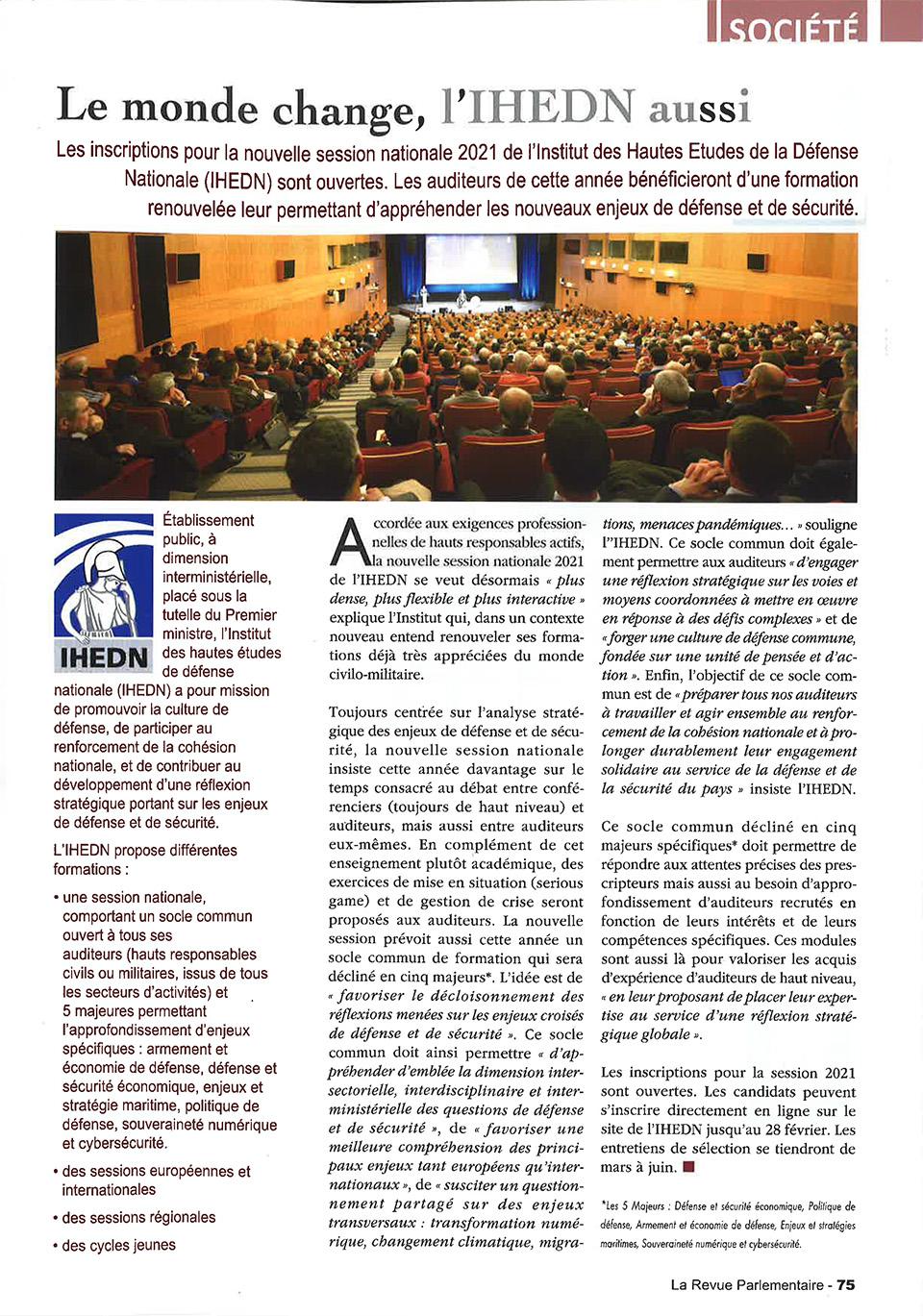 IHEDN | La revue parlementaire - fevreier 2021